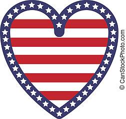 forma coração, bandeira, eua