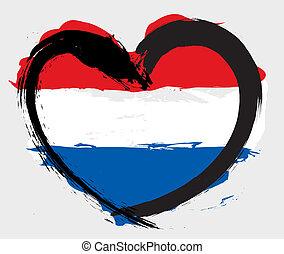forma coração, bandeira, nederland