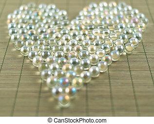 forma coração, bolas, transparente