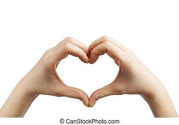forma coração, branca, mãos