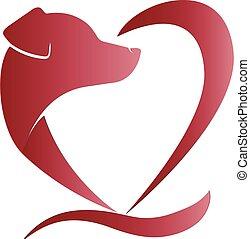 forma coração, cão, logotipo