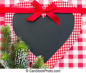 forma coração, cartão natal, em branco