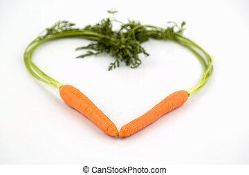 forma coração, cenouras, fresco