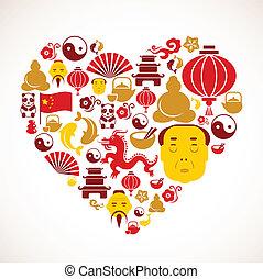 forma coração, china, ícones