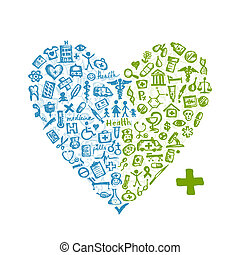 forma coração, com, ícones médicos, para, seu, desenho