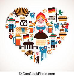 forma coração, com, alemanha, ícones