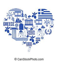 forma coração, com, grécia, símbolos