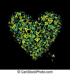 forma coração, com, letras, para, seu, desenho