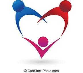 forma coração, conexão, família, logotipo
