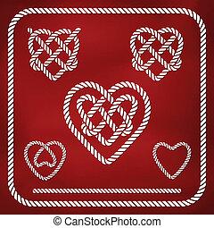 forma coração, corda, nó