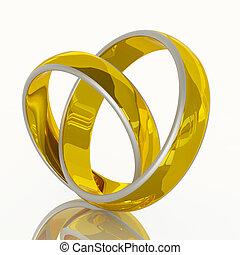 forma coração, de, par, anel casamento