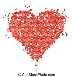 forma coração, desenho, vermelho, seu, mosaico