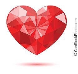 forma coração, diamante