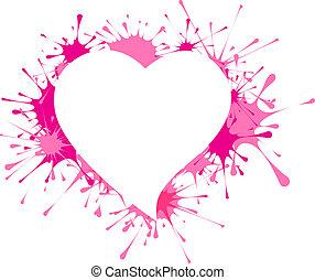 forma coração, em, esguichos