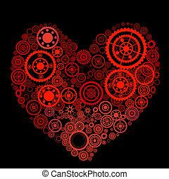 forma coração, engrenagens, consist