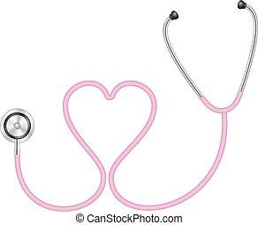 forma coração, estetoscópio