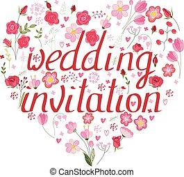 forma, coração, feito, de, stylized, flores, e, rosas cor-de-rosa