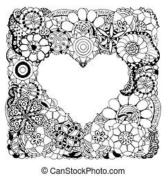 forma coração, flores