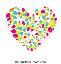 forma coração, girassóis, seu, desenho
