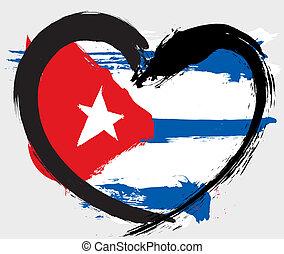 forma coração, grunge, bandeira, cuba