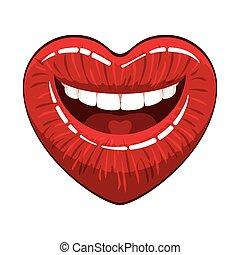 forma coração, lábios