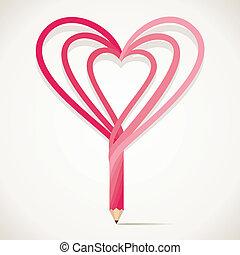 forma coração, lápis