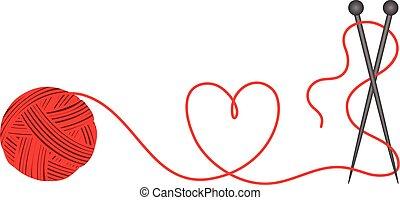 forma coração, lã, tricotando