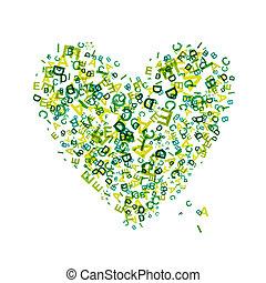 forma coração, letras, seu, desenho