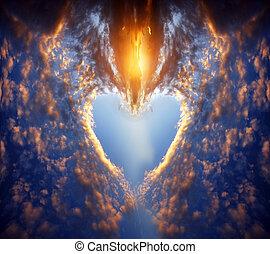 forma coração, ligado, céu ocaso