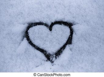 forma coração, mão, desenhado