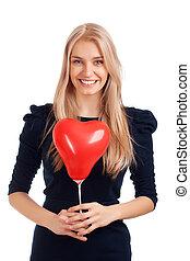 forma coração, mulher, balões, jovem