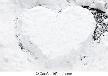 forma coração, neve, desenhado