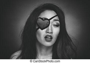 forma coração, olho mulher, remendo