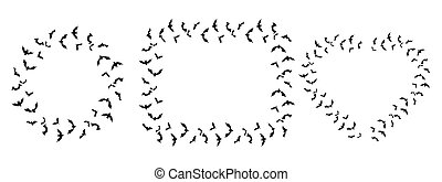 forma coração, padrão, morcegos, pretas, vetorial, ilustração
