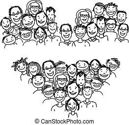 forma coração, povos, desenho, seu, feliz