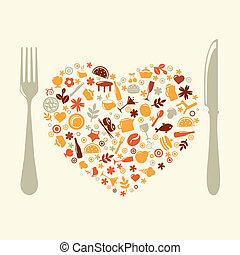 forma, coração, restaurante, desenho
