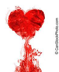 forma coração, sangue, tinta