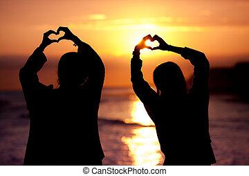forma coração, silueta, pôr do sol