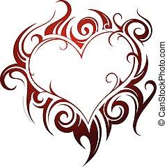 forma coração, tatuagem