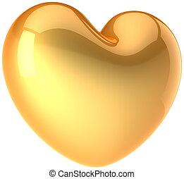 forma coração, total, amor, dourado