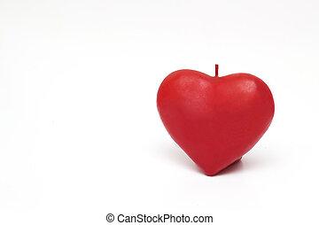 forma coração, velas