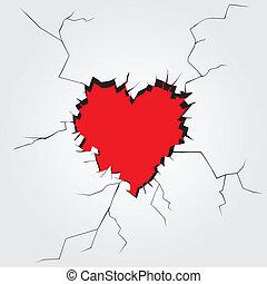 forma coração, vetorial, buraco, wall.