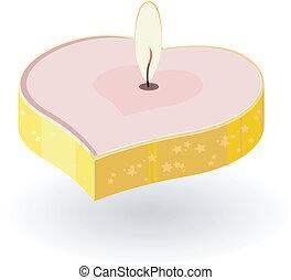 forma coração, vetorial, ilustração, velas