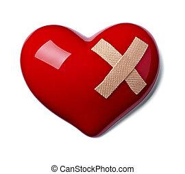forma corazón, amor, venda, daño
