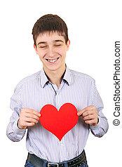 forma corazón, asideros, adolescente, rojo