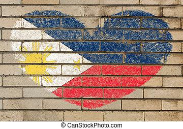 forma corazón, bandera, de, phillipines, en, pared ladrillo