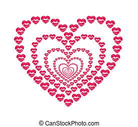 forma corazón, besar, labios