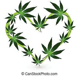 forma corazón, cannabis, leafs, logotipo