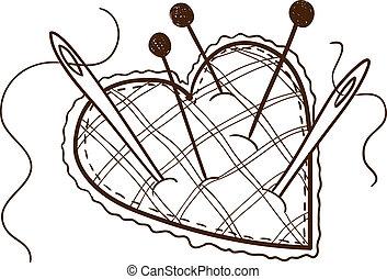 forma corazón, cojín, alfiler