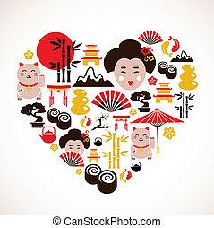 forma corazón, con, japón, iconos